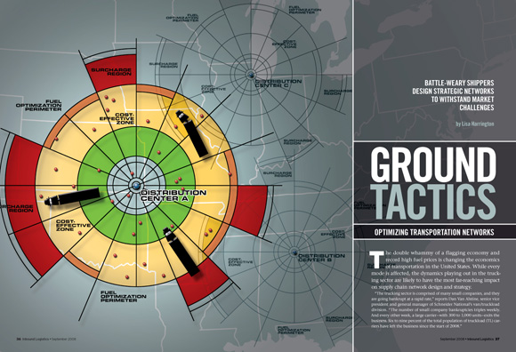 Ground Tactics - Opening spread for feature story about selecting optimal locations from which to deploy trucking distribution networks