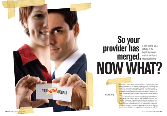 So Your Provider Has Merged -- Opening spread for feature story about how to handle M&A consolidation of your third-party logistics provider
