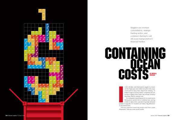 Containing Ocean Costs -- Opening spread for feature about optimizing container loads for greater savings